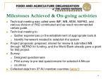 milestones achieved on going activities
