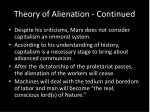 theory of alienation continued