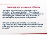 leadership involvement of people