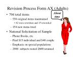 revision process form ax adults