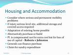 housing and accommodation