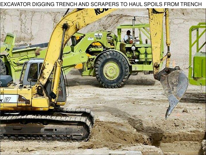 EXCAVATOR DIGGING TRENCH AND SCRAPERS TO HAUL SPOILS FROM TRENCH