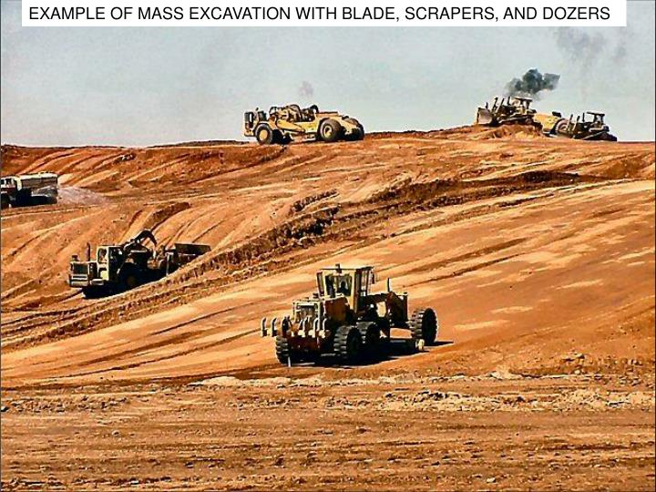 EXAMPLE OF MASS EXCAVATION WITH BLADE, SCRAPERS, AND DOZERS