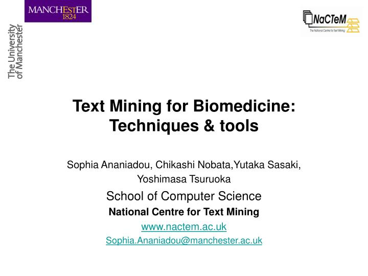 text mining for biomedicine techniques tools n.