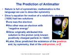 the prediction of antimatter
