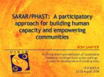 sarar phast a participatory approach for building human capacity and empowering communities