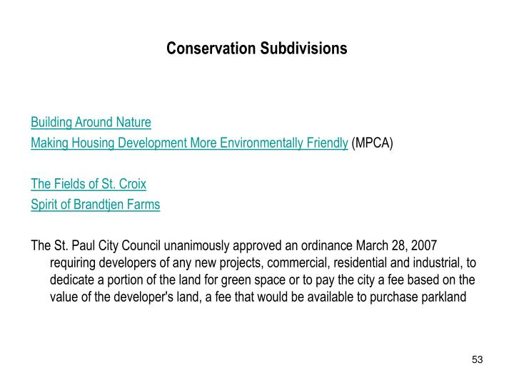 Conservation Subdivisions