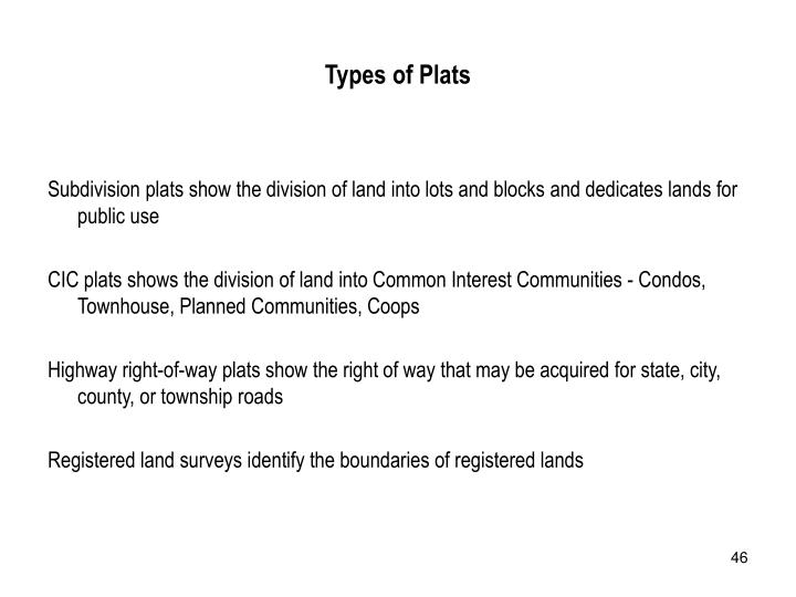 Types of Plats