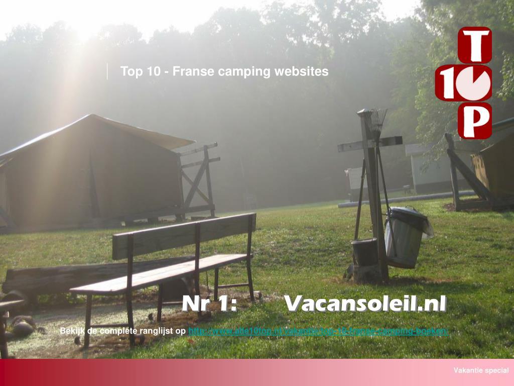 Top 10 - Franse camping websites