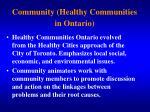 community healthy communities in ontario