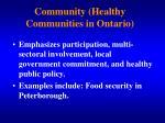 community healthy communities in ontario1