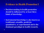 evidence in health promotion i