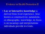 evidence in health promotion ii