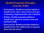 health promotion principles from the who1