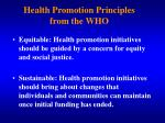 health promotion principles from the who2