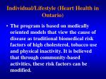 individual lifestyle heart health in ontario