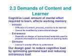 2 3 demands of content and learner