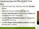 applying special effects to a text box