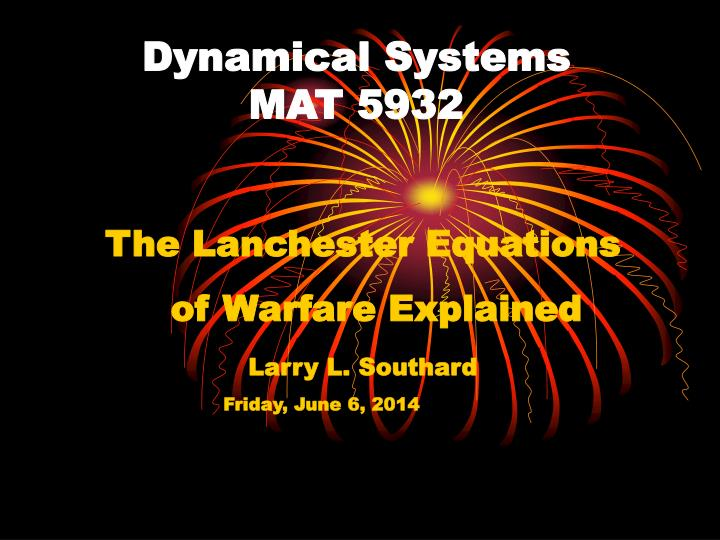 dynamical systems mat 5932 n.