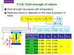 f 1 9 yield strength of rebars