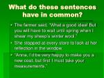 what do these sentences have in common