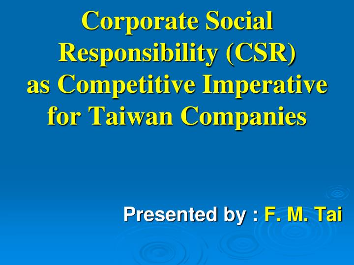 corporate social responsibility csr as competitive imperative for taiwan companies n.