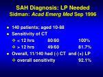 sah diagnosis lp needed sidman acad emerg med sep 1996