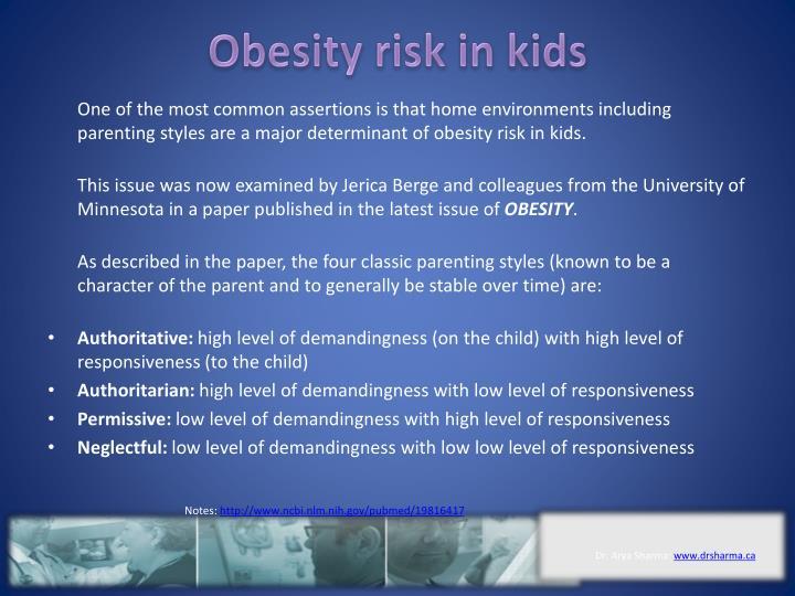 Obesity risk in kids