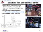 deviations from emi test plan cs102