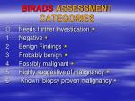birads assessmen t categories