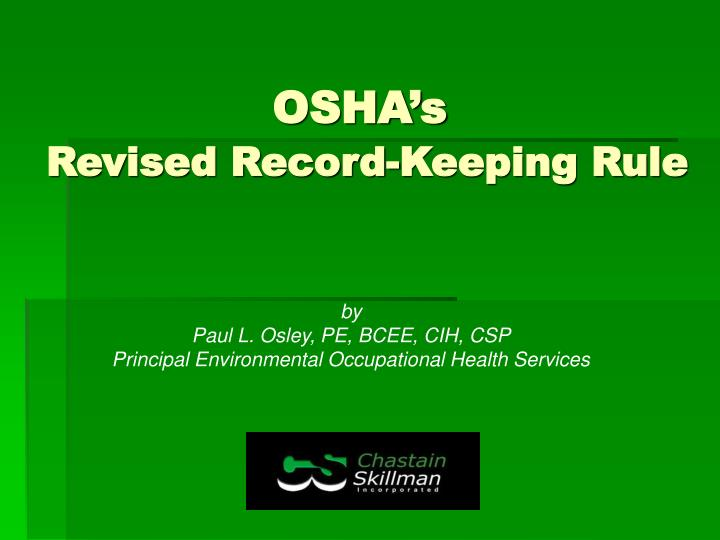 osha s revised record keeping rule n.
