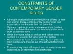 constraints of contemporary gender roles
