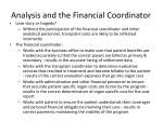 analysis and the financial coordinator