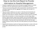 how to use the cost report to provide information to hospital management