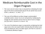 medicare reimbursable cost in the organ program