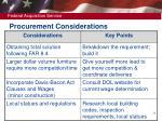 procurement considerations