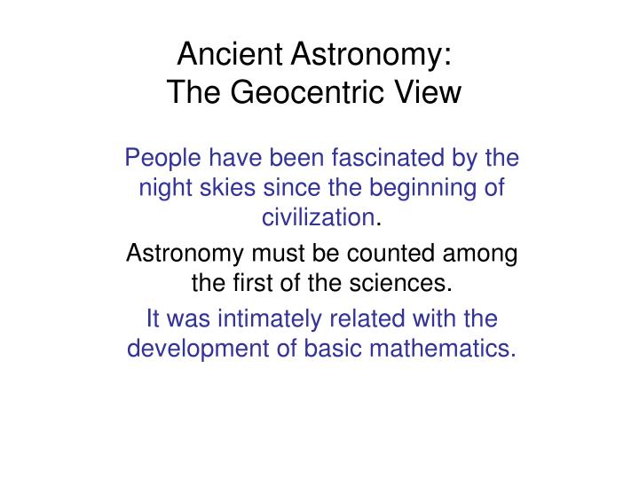ancient astronomy the geocentric view n.