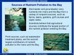 sources of nutrient pollution to the bay