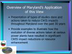 overview of maryland s application of this view