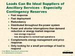 loads can be ideal suppliers of ancillary services especially contingency reserves
