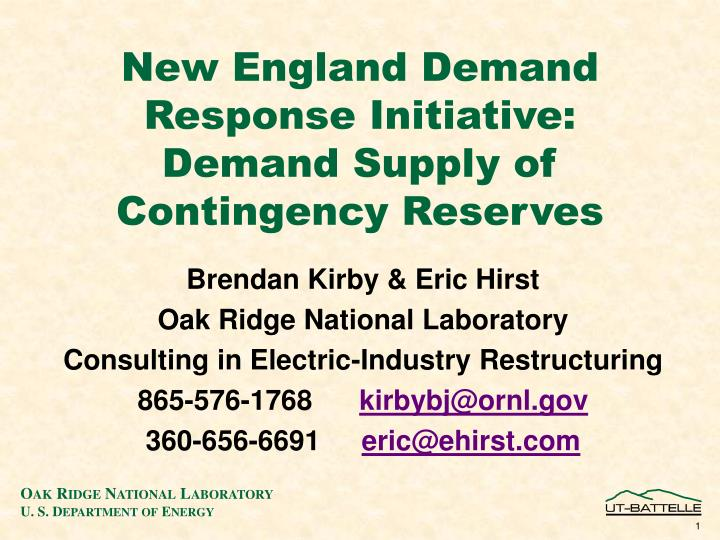 new england demand response initiative demand supply of contingency reserves n.