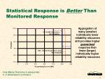 statistical response is better than monitored response