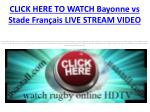 click here to watch bayonne vs stade fran ais live stream video