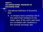 part v an operational measure of exchange risk