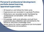 personal professional development portfolio based learning appraisal supervision