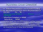 appraisal order checklist