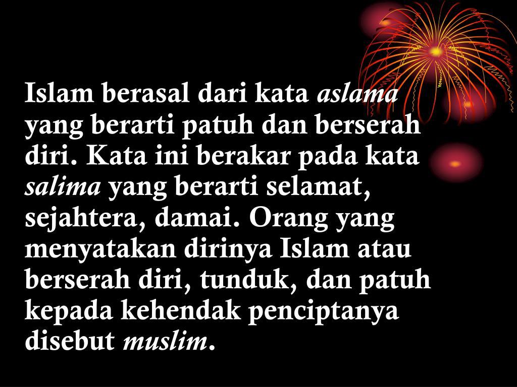 Islam berasal dari kata