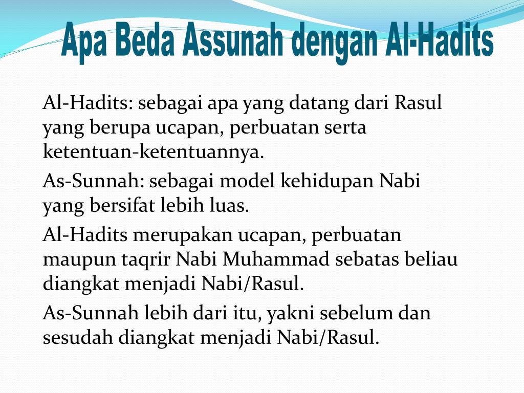 Apa Beda Assunah dengan Al-Hadits
