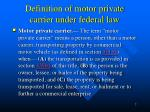 definition of motor private carrier under federal law