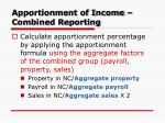 apportionment of income combined reporting1